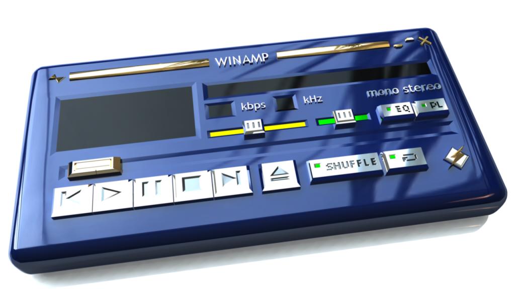 Una versione modellata del classico pannello principale di Winamp