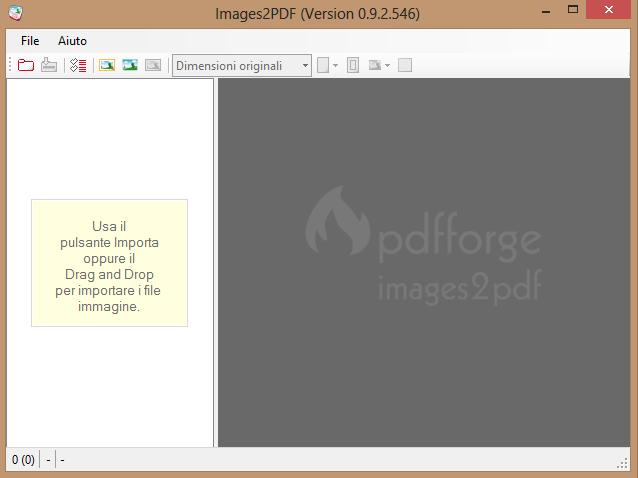 Uno screenshot del programma Image2PDF