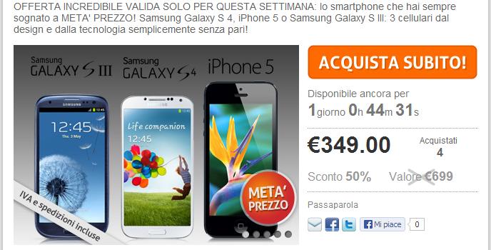 PrezzoFelice.it inganna gli utenti con Samsung Galaxy S4 ed iPhone 5