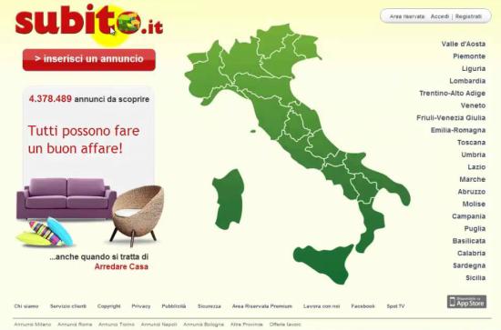 HomePage del sito Subito.it