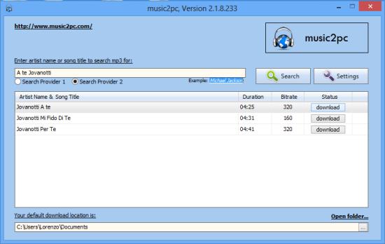 L'interfaccia grafica di music2pc.