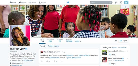 Il profilo Twitter di Michelle Obama