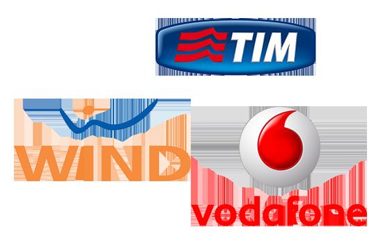 I Loghi delle tre compagnie telefoniche