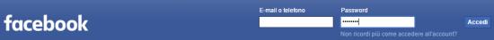 La schermata di accesso a Facebook