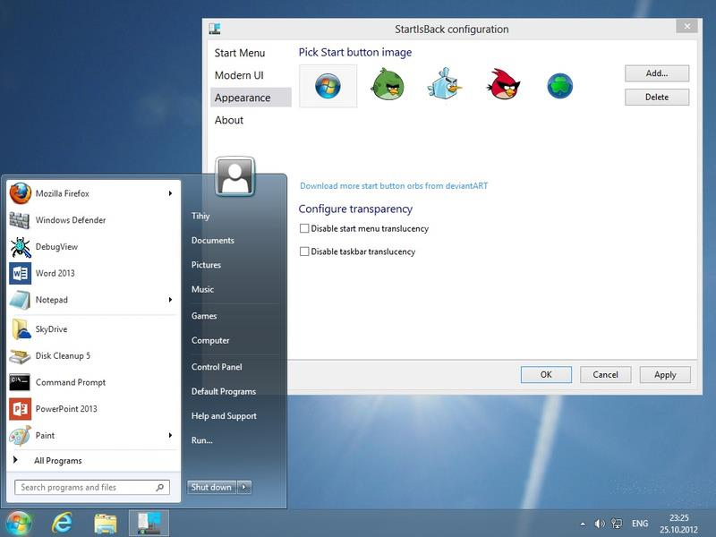 Start in Microsoft Windows 8