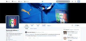 Il profilo Twitter della Nazionale Italiana.